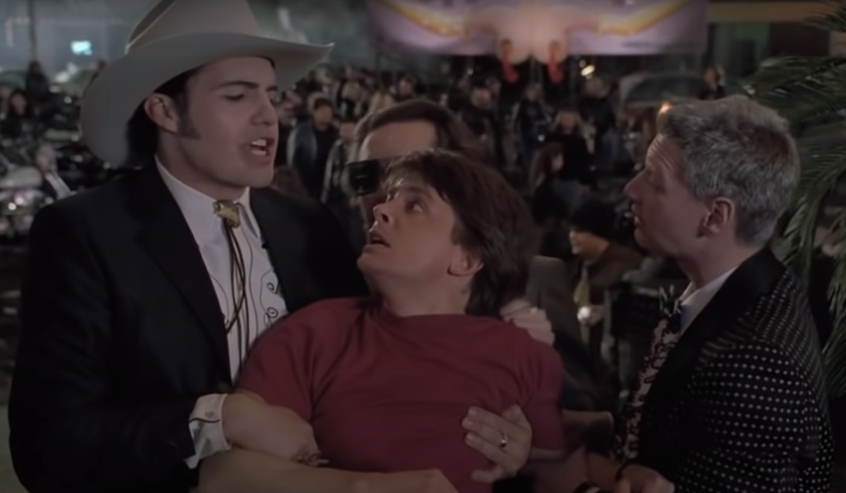 Back To The Future Part II Biff's 1985A goons hold Marty captive