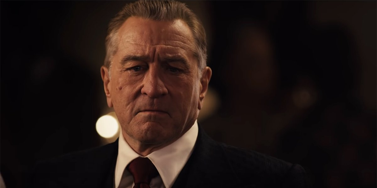 Robert De Niro looking worried in The Irishman
