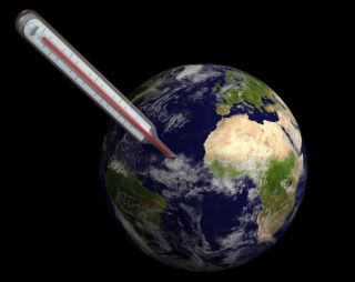 earth and thermometer showing increasing global surface temperatures