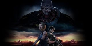 Jill and Carlos arm up under a looming Nemesis in Resident Evil 3.