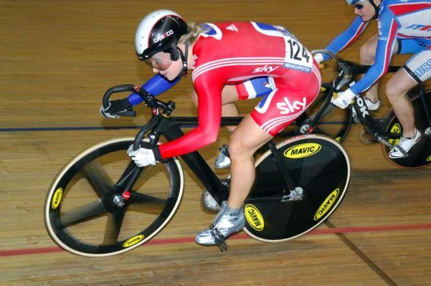 Becky James team GB sprinting junior world champion 2009 Manchester world cup.jpg