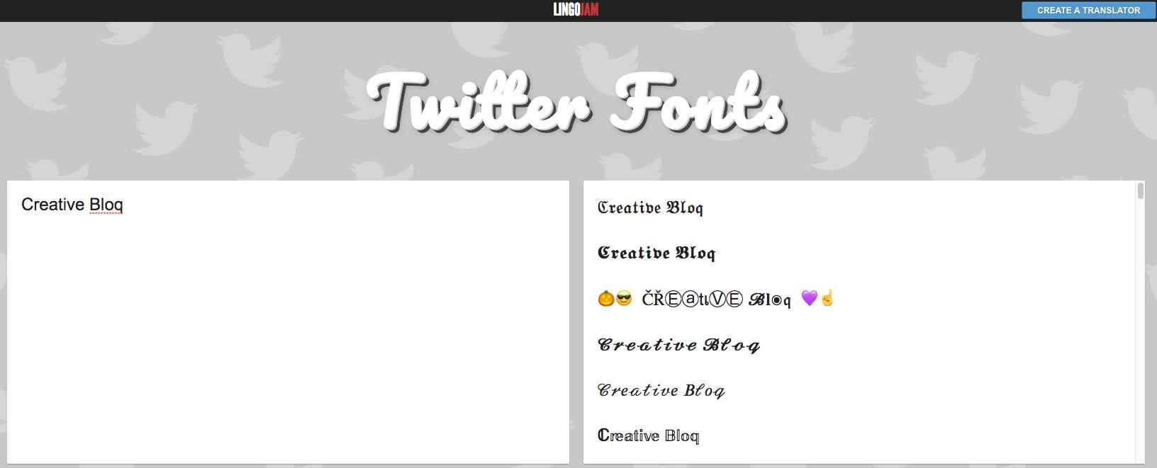 LingoJam Twitter fonts screenshot