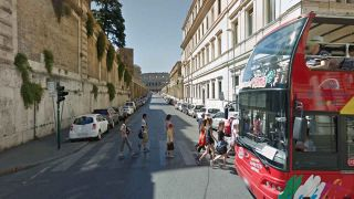 Italian street view with bus and people