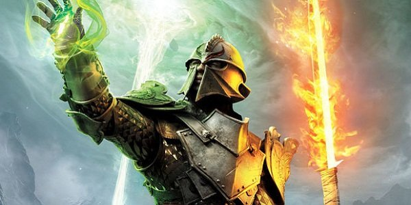 A knight wields magic and a fiery sword in Dragon Age.