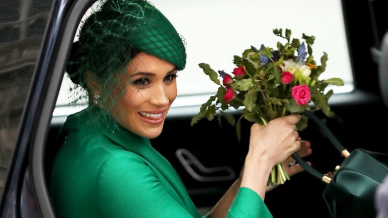 Meghan Markle with flowers during Commonwealth Day