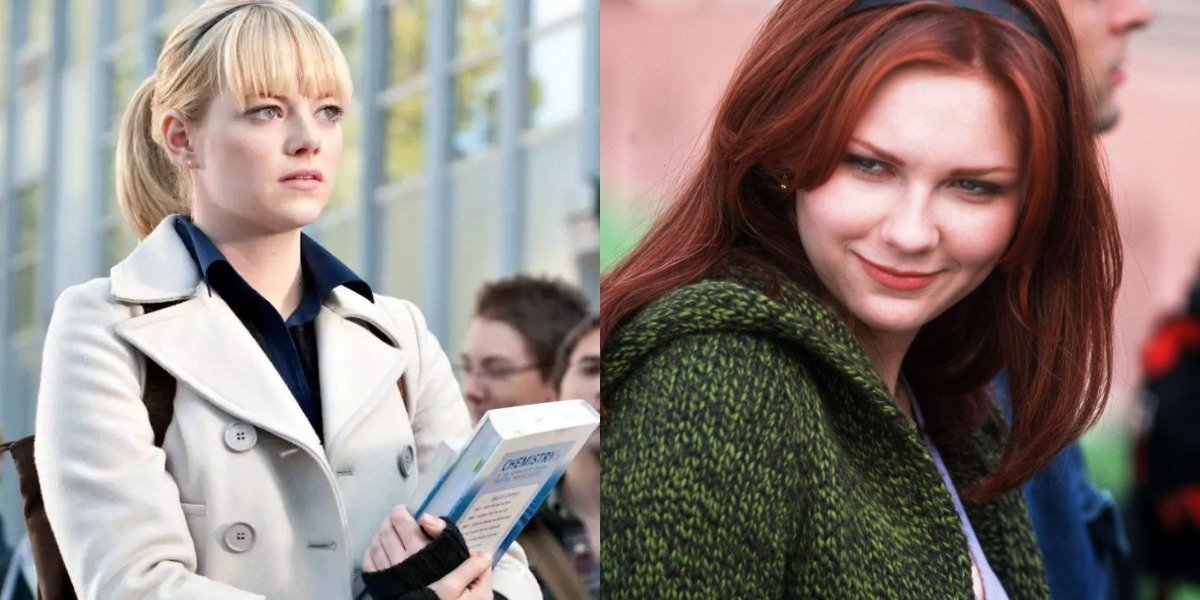 Emma Stone as Gwen Stacy in The Amazing Spider-Man and Kirsten Dunst as Mary Jane Watson in Sam Raimi's Spider-Man