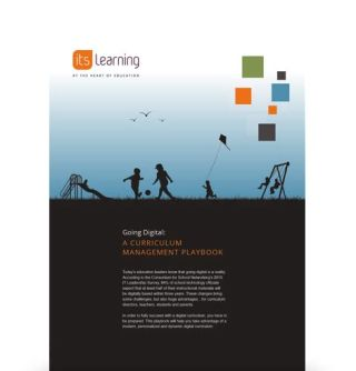 """Going Digital: A curriculum management playbook"" cover with kids on playground"