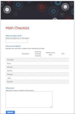 Class Tech Tips: Google Forms Spotlight - Formative Assessment Checklists