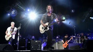 Jeff Ament, Mike McCready, Matt Cameron, Stone Gossard and Eddie Vedder of Pearl Jam perform at Fenway Park on September 4, 2018 in Boston, Massachusetts.