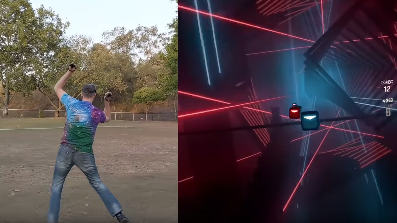 This 60-meter wide Beat Saber mod puts P90X to shame