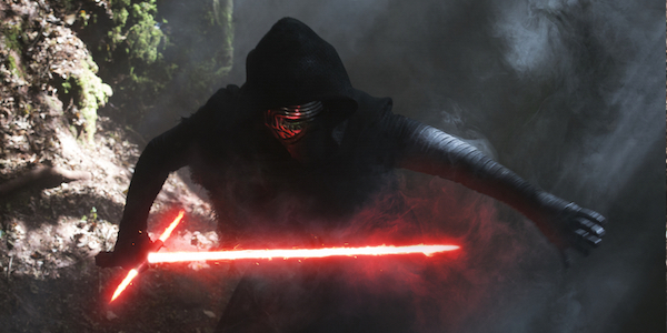 Kylo Ren holding ignited lightsaber