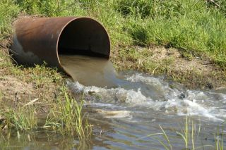 Sewage drain, water pollution