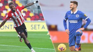 Brentford vs Brighton & Hove Albion live stream — Ivan Toney of Brentford and Adam Lallana of Brighton & Hove Albion