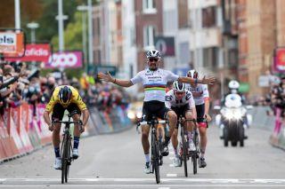 Julian Alaphilippe celebrated too soon and was beaten by Primoz Roglic to win the 2020 Liège-Bastogne-Liège