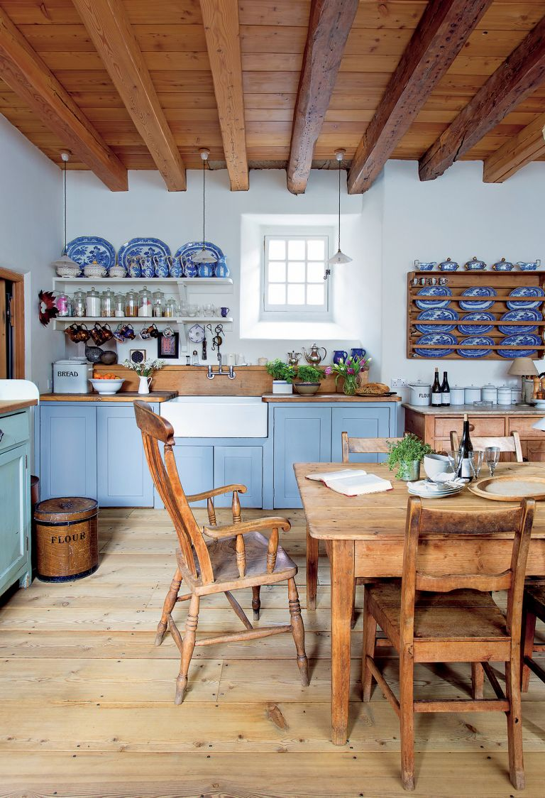 traditional kitchen: blue shaker kitchen