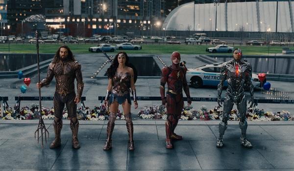 Justice League Jason Momoa Gal Gadot Ezra Miller Ray Fisher Aquaman Wonder Woman The Flash and Cybor