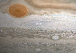 "This image of Jupiter's famous Great Red Spot was created by citizen scientist Kevin Gill, using data gathered by the JunoCam instrument aboard NASA's Juno Jupiter orbiter on June 2, 2020. The whitish storm beneath and to the right of the Great Red Spot is a newfound maelstrom dubbed ""Clyde's Spot."""