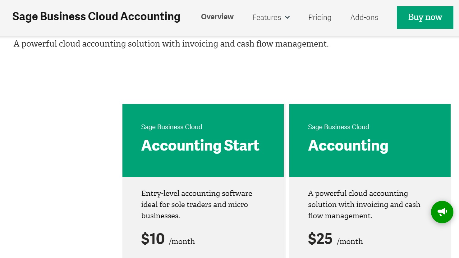Sage Business Cloud Accounting offers both a starter plan as well as a more advanced plan that includes invoicing and cash flow management