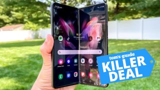 Person holding the Samsung Galaxy Z Fold 3