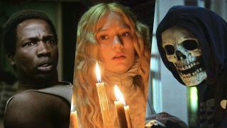 Ṣọpẹ Dìrísù as Bol Majur in His House, Mia Wasikowska in Crimson Peak and a skeleton in a reaper hood in Fear Street, three of the best horror movies on Netflix