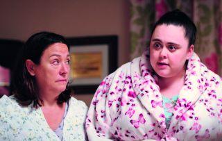 Neighbour Sophie (Sharon Rooney) pops round to Beth's (Arabella Weir)