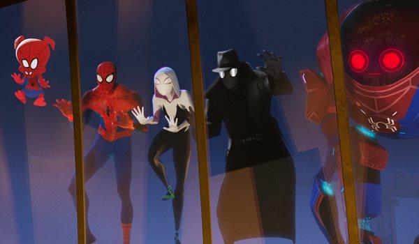 Spider-Ham Spider-Man Spider-Gwen Spider-Noir and SP//dr look through a window in in Spider-Man: Int