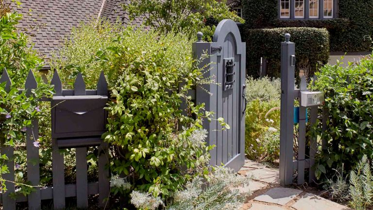 Mailbox landscaping ideas showing a gray mailbox on a gray picket fence with green bushes.