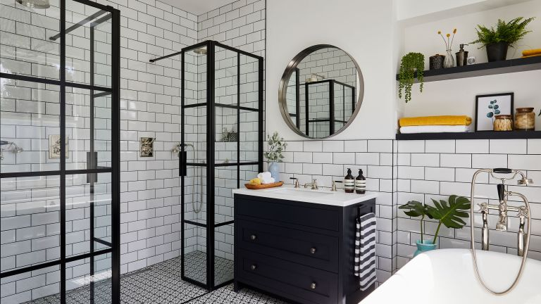 Ali and Neil Gunn gave a dated 1970s bathroom in their south east London home a monochrome makeover