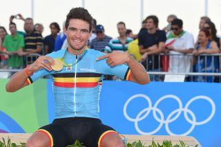 Belgium's Greg Van Avermaet is all smiles after taking the gold medal in the men's road race at the 2016 Olympic Games in Rio de Janeiro, Brazil