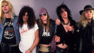 Guns N Roses posed group shot from late 1987/early 1988