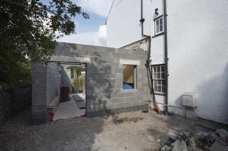 a home extension in the process of construction