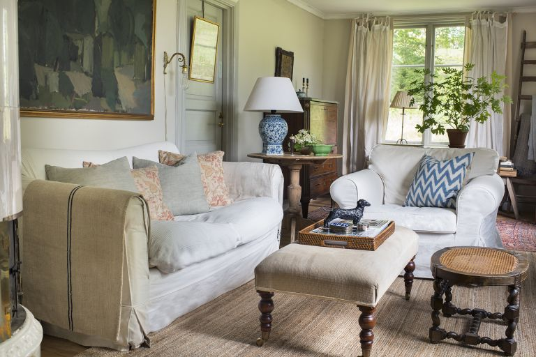 country style living room in Swedish country home