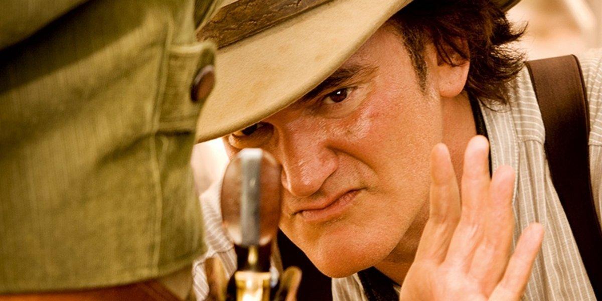 Quentin Tarantino on the set of Django Unchained
