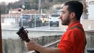 Enrico Monti plays Slayer on his balcony in Italy