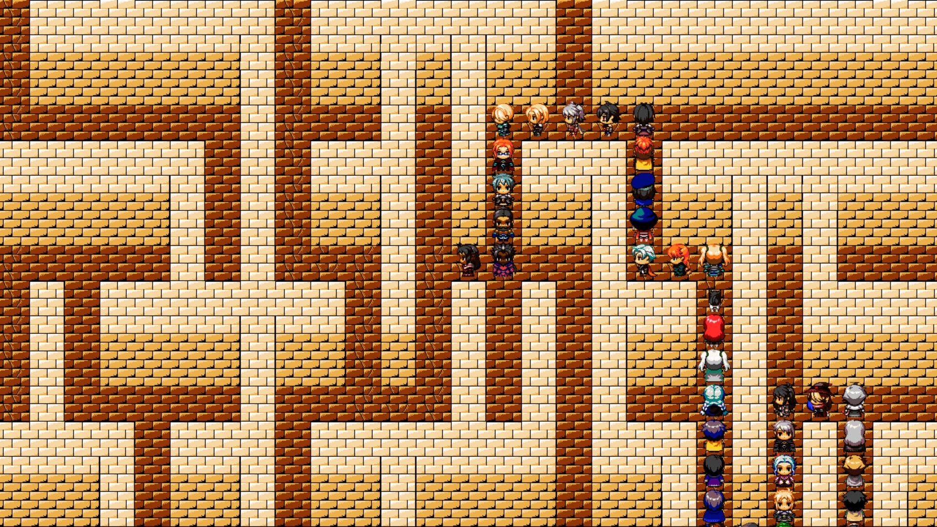 A huge adventuring party traverses a maze in single file