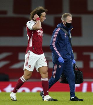 David Luiz suffered a thigh injury during Arsenal's Premier League defeat to Leicester.