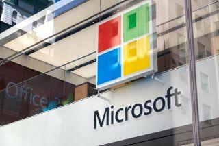 Microsoft logo on a building.