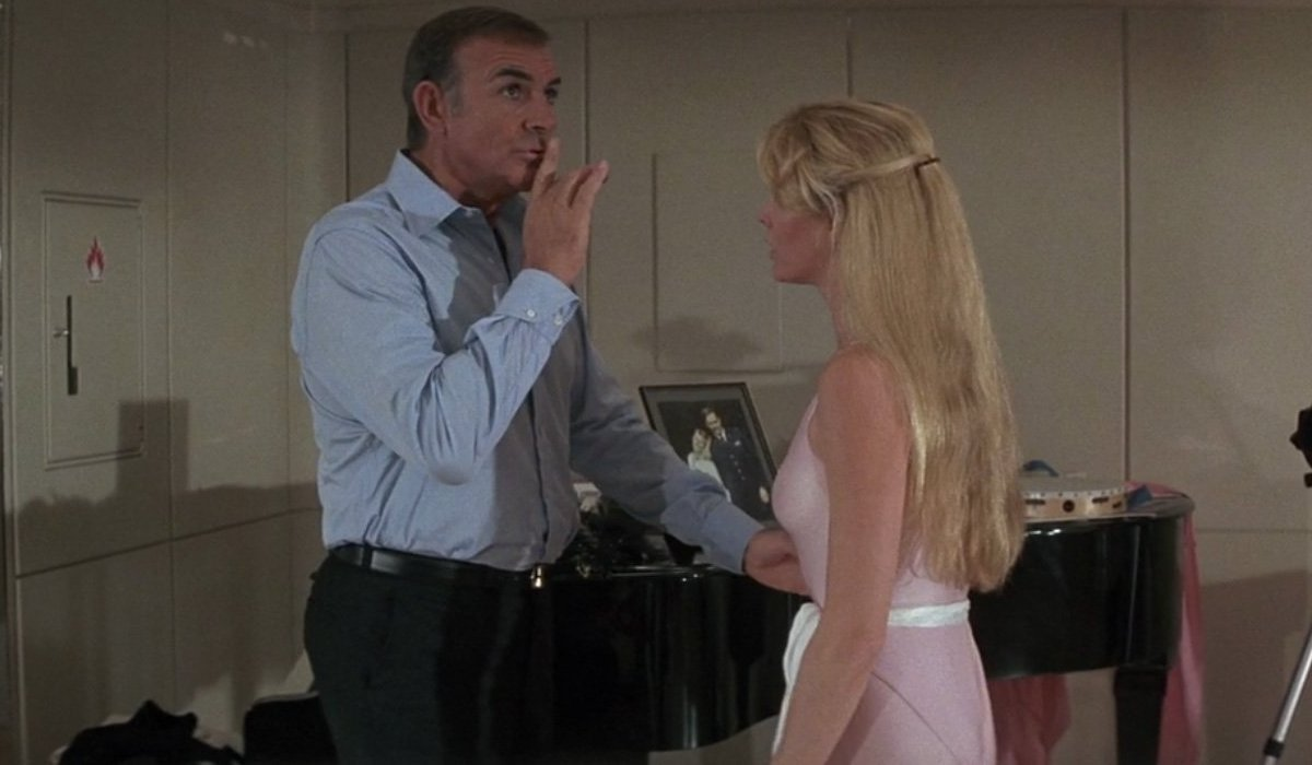 Sean Connery hushes Kim Basinger in the dance studio in Never Say Never Again.