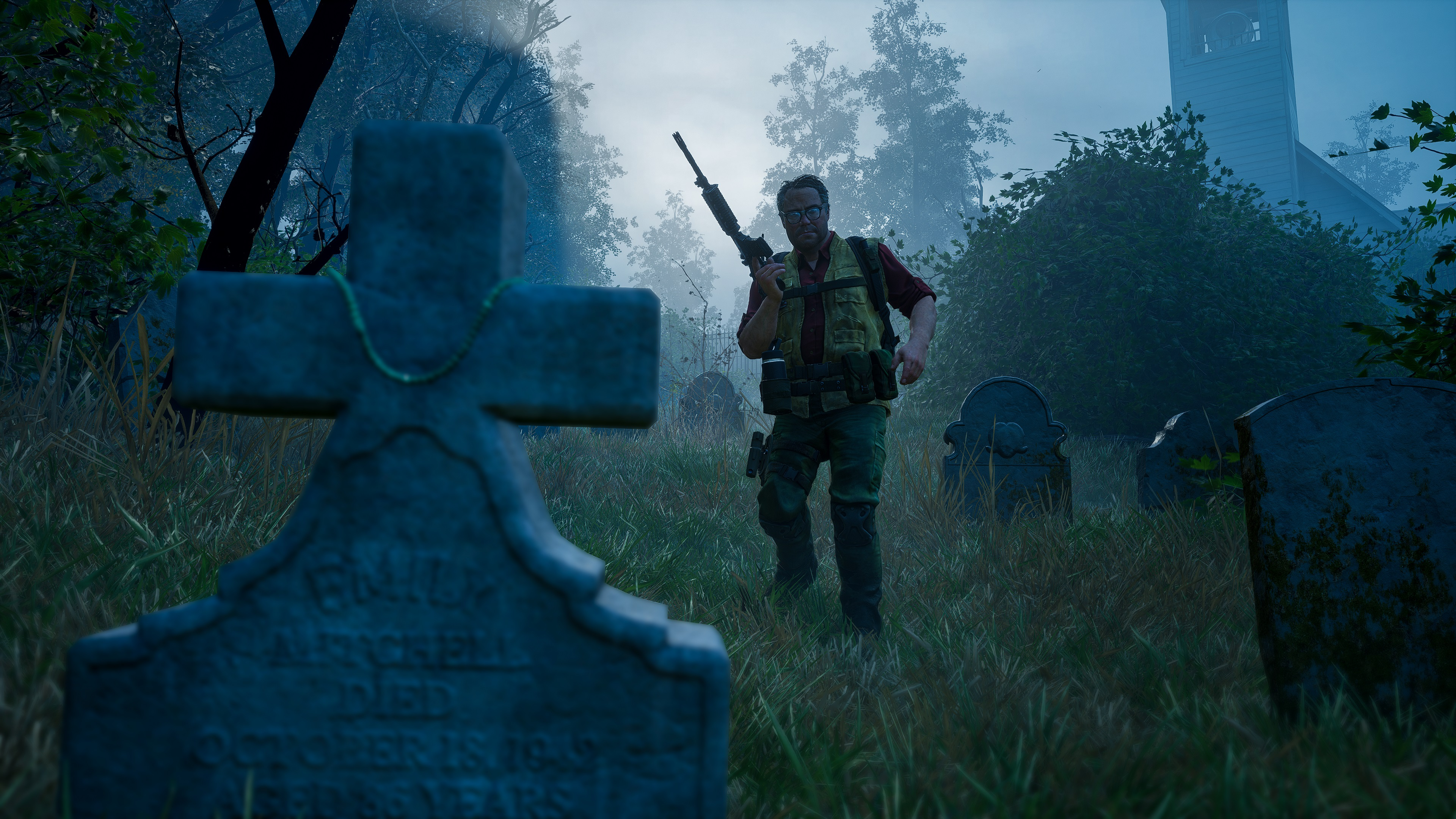 Back 4 Blood Cleaner Hoffman walking through a graveyard with a gun