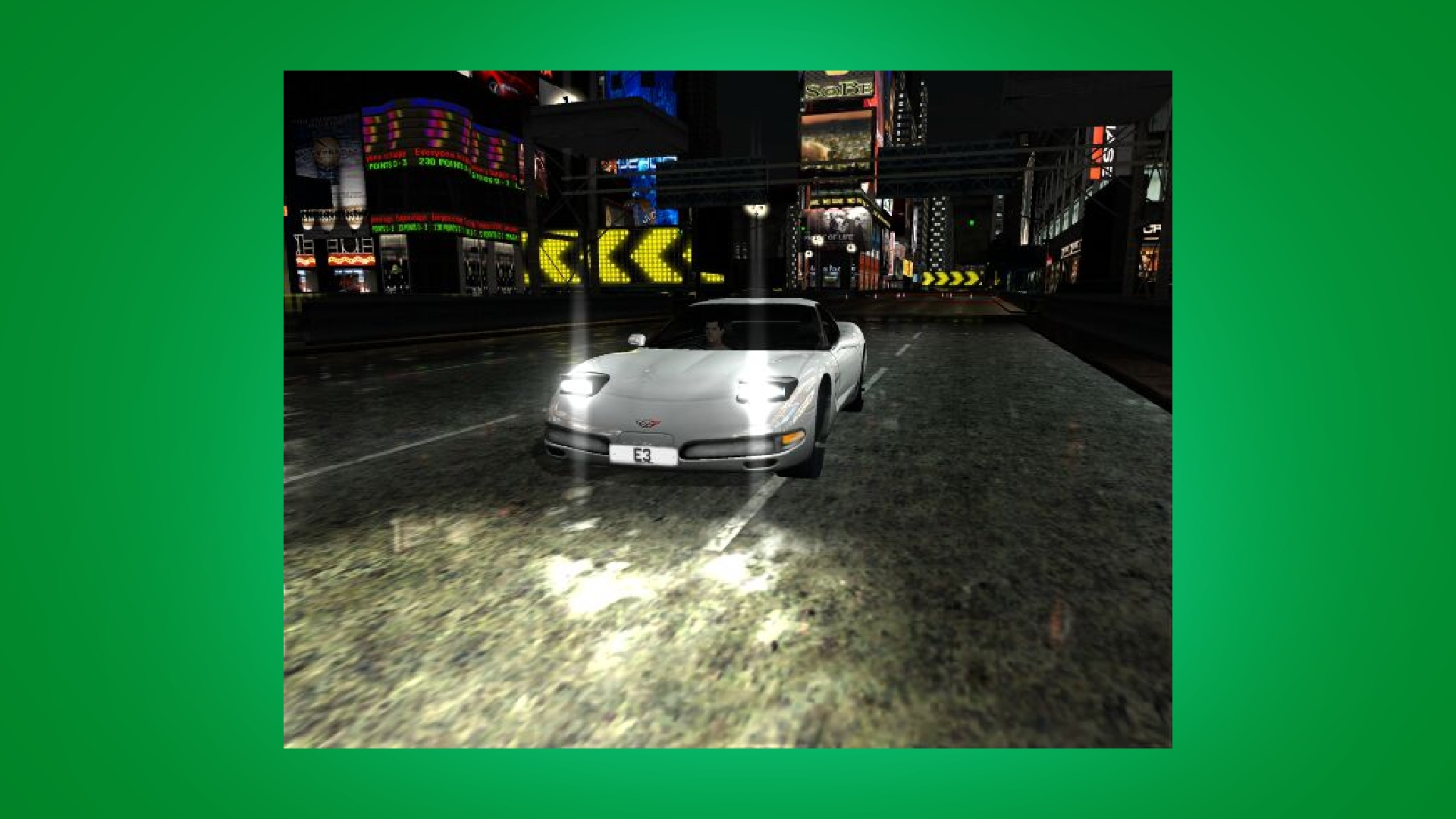 A car racing in the night in Project Gotham Racing