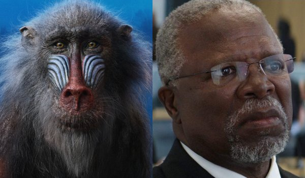 The Lion King Rafiki and John Kani side by side