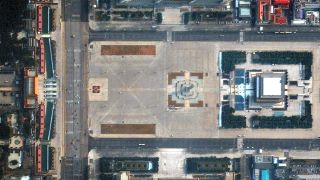 Beijing's Tiananmen Square, which is normally teeming with people, has been deserted amid the coronavirus pandemic.