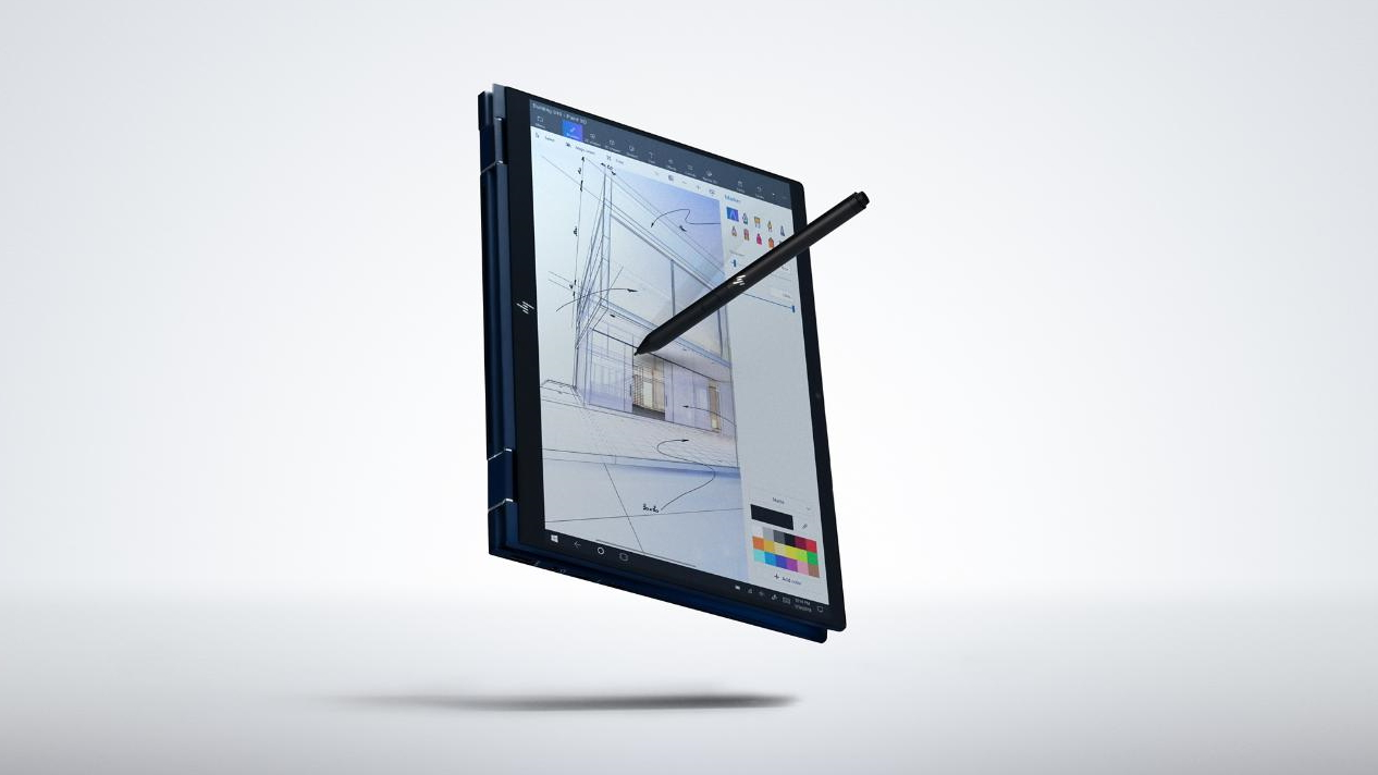 Image of the HP Elite Dragonfly G2 in tablet mode with stylus