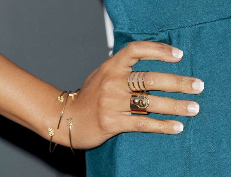 Karen David, fashion detail, attends the premiere of 'Lily & Kat' at the Vista Theatre on March 20, 2015 in Los Angeles, California, French manicure design