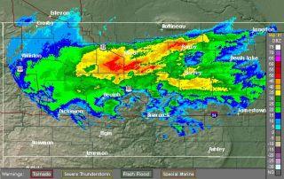 Rain and snow falling in North Dakota on Oct. 3, 2012.