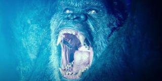Godzilla vs. Kong King Kong angry in the glow of atomic breath