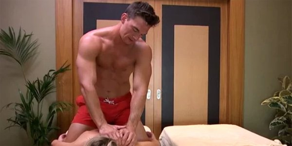 Shirtless Tyler C massage The Bachelorette 2019 Season 15 ABC