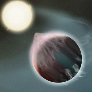 "An artist's depiction of an early stage in the destruction of a ""hot Jupiter"" (a gas giant with a very close orbit) by its star."