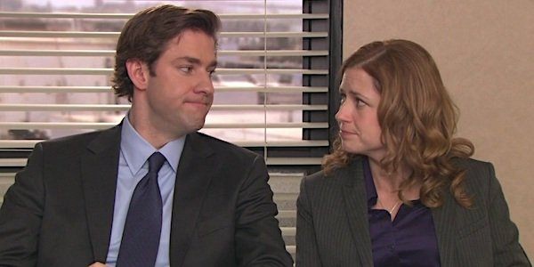 jim and pam talking heads the office