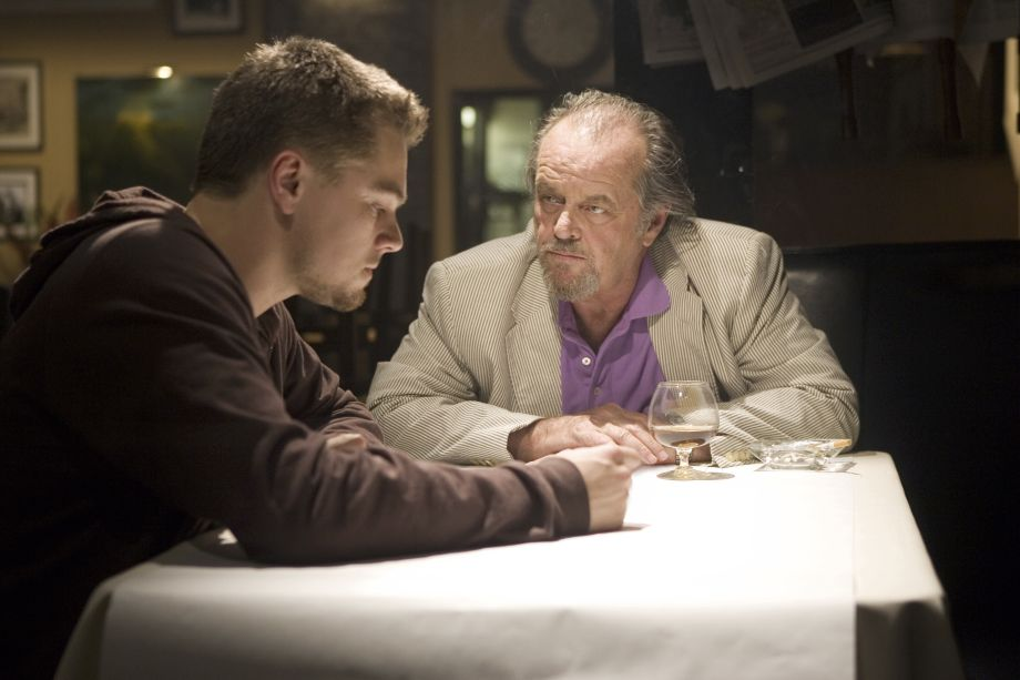 Leonardo DiCaprio talks things over with Jack Nicholson
